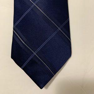 DKNY men necktie navy blue classic 100% silk